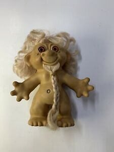 1960's Hippy Troll doll with Beard Blondes Rooted hair 7 inches VINTAGE