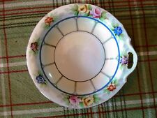 Vtg Green Mark Noritake M Japan Marked Berry Bowl CutOut Handle Floral Porcelain