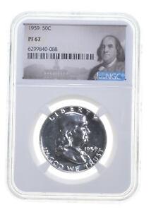 1959 PF67 Proof Franklin Half Dollar NGC Graded White Coin Spot Free PR67 *0648