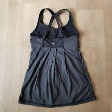 Lululemon Tank Top Criss Cross Back Black and Grey Size 6 Yoga Running