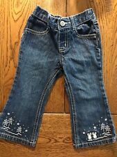 Gymboree Penguin Chalet Embroidered Jeans Girls Size 18-24 Months