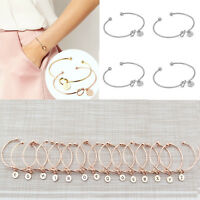"WOMEN CREATIVE SIMPLE INITIAL KNOT ""A-Z"" LETTER BRACELET BRIDESMAID OPEN BANGLE"