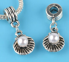 2pcs Tibetan silver Pearl shell Charm bead fit European Bracelet Pendant #V12