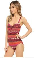 NWT La Blanca Women's Size 6 Pink Orange Bandeau One-Piece Swimsuit NEW $119
