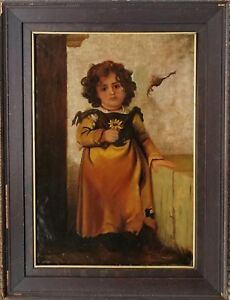 Henri Victor Regnault (France 1810-1878) large O/C Young Peasant Girl w/ Flower