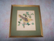 """1960 Signed Completed Counted Cross Stitch Gold Finch Framed 10"""" x 11""""."""