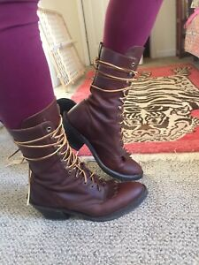 Lace Up Leather Boots With Heel
