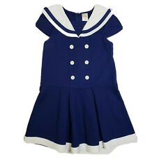 Gymboree Blooming Nautical Pleated Pique Sailor Dress Girls 6 EUC