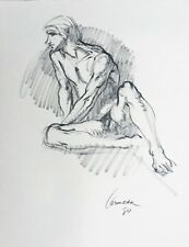 Harry Carmean drawing of seated male model 1980