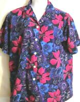 Womens Top Blouse Shirt Blue Pink Floral Print Short Sleeves Top Size 16W