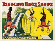 ADVERTISING CIRCUS RINGLING HILLARY LONG SKATE ACROBAT ART POSTER PRINT LV619