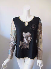 ESLINA KAROP FIRENZE Floral Patch Work Key Hole Neck Long Sleeve Top Blouse XL
