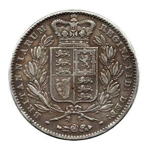 KM# 741 - One Crown - Five Shillings - Victoria - Great Britain 1847 (VF)