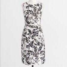 Women's J Crew Cream Leaf Print Sleeveless Career Dress Pockets Sz 14
