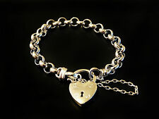 Silver Layered Belcher Bracelet with Plain Heart Locket Womens Jewellery Gifts