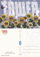TOWER RECORDS FLOWERS UNUSED ADVERTISING COLOUR POSTCARD