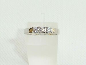 Ladies Wedding Sterling 925 Solid Silver 3 Stone White Sapphire Eternity Ring