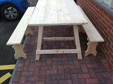 WEDDINGS, EVENTS FURNITURE - SET OF TRESTLE TABLE + 2 FOLDING BENCHES
