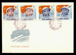 DR WHO 1964 ROMANIA FDC SPACE CACHET ASTRONAUT/COSMONAUT COMBO IMPERF f94544