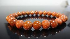 "Genuine Goldstone Bead Bracelet for Men or Women (On Stretch) 8mm - 7.5"" inch"