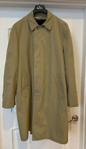 Vintage London Fog Men's Tan Trench Coat w/ Alpaca Black Liner Size 42 Long