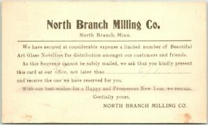 1917 North Branch, Minnesota Postcard NORTH BRANCH MILLING CO. Advertising Card