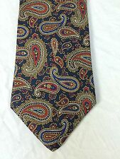 Brooks Brothers Silk Neck Tie Paisley Blues Reds White Olive