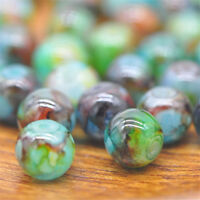 30Pc 8mm Double Color Glass Pearl Round Spacer Loose Beads Jewelry Making New