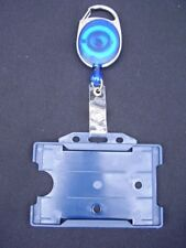 Blue Retractable Belt Clip Reel & Police/SIA Security ID Pass Card/Badge Holder