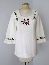 VGC Vtg 70s Mod White Acrylic Tunic Hippie Scoop Sweater Embroidered Flowers M