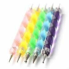 5 Multi gekleurde Swirl dubbele eindigde Nail Art puntjes tools + 100 Nail veegt
