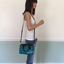 NEW! COACH PVC Leather Rose Mini Satchel Shoulder Crossbody Bag Turquoise Black