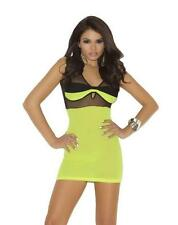 Opaque and Fishnet Mini Dress Sleeveless Lingerie Chartreuse 1563