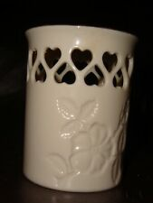 Lenox Porcelain Heart Candle Holder Hand Decorated w/24K Gold, Embossed Flowers