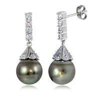 Sterling Silver 11mm Tahitian Cultured Pearl & White Topaz PyramidDrop Earrings