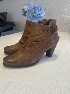 Womens Paul Green Distressed Tan Leather  Ankle Boots Size 7