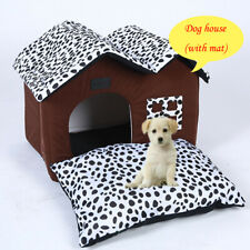 Soft Dog Indoor House Double Room Cat Kennel Pet Puppy Bed House Winter Warm