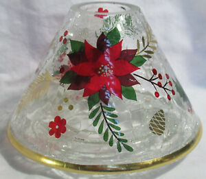 Yankee Candle Jar Shade Clear CRACKLE POINSETTIA CHRISTMAS Holly Leaves Pinecone