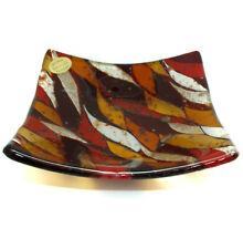 Murano Glass Plate Red Orange White Square Millefiori Venice 13cm x 13cm
