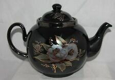 Ceracraft Black TEAPOT tea pot Metallic flowers FLORAL GRAY Irridescent England