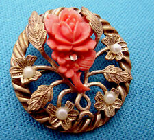 Very Vintage Coral Carved Celluloid Rose Goldtone Brooch, Faux Pearls, C Clasp