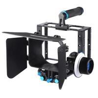 DSLR Camera Cage Video KIT+Matte Box+15mm Rod Set+Focus Ring+Follow Focus F3M4