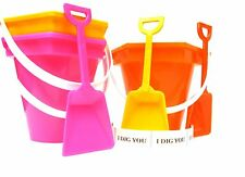 3 Beach Sand Buckets,Shovels, I Dig You Stickers Easter Colors Mfg USA *