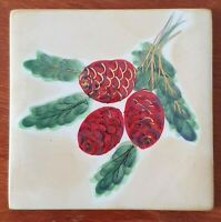 Whittard of Chelsea Handpainted Ceramic Coasters x 6 - Winter Floral - Fir Cone