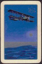 Playing Cards Single Card Old Vintage Moonlit Sea Night Flight Bi-Plane Aircraft