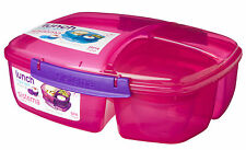 SISTEMA TRIPLE SPLIT 2L LUNCH BOX + YOGHURT POT PINK MULTI COMPARTMENT BPA FREE