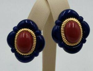 "Vintage AVON 1980's Carnelian Cabochon Center in Navy Blue 1"" Clip-On Earrings"