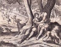 Gravure XVIIIe Adonis Aimé de Vénus Aphrodite Άδωνις Adone Αφροδίτη Afrodite