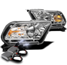 2010-2014 FORD MUSTANG CHROME SET CRYSTAL DRL LED HEADLIGHTS LAMP+50W 8K HID KIT