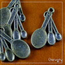 Antique Bronze Measuring Spoon charms ~PACK of 4~ 30mm long chef cooking cook